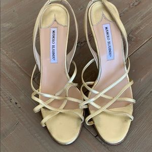 Manolo blahnik gold strappy shoes